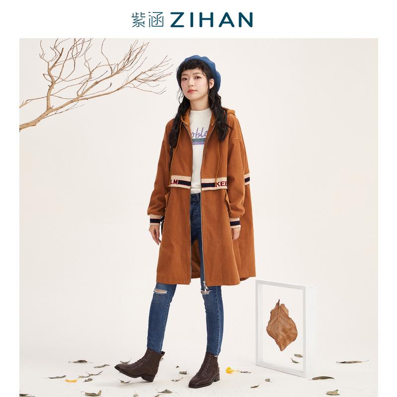 Mùa thu của Makino Purple Han Women mùa xuân 2020 Mori Woman Phiên bản Hàn Quốc của chiếc áo khoác trench coat dài trùm đầu - Trench Coat