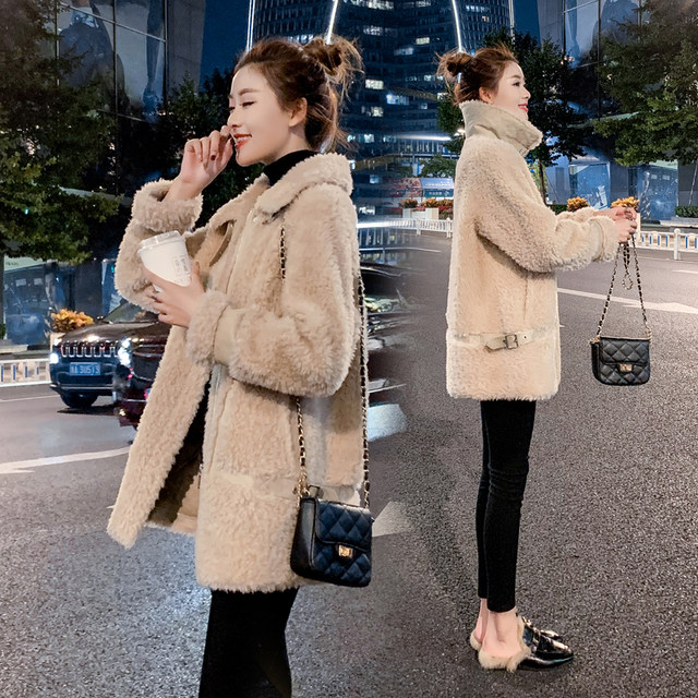 20 winter fur one-piece lamb wool coat female Korean version of thick grained sheep shearing mid-length suede cotton jacket