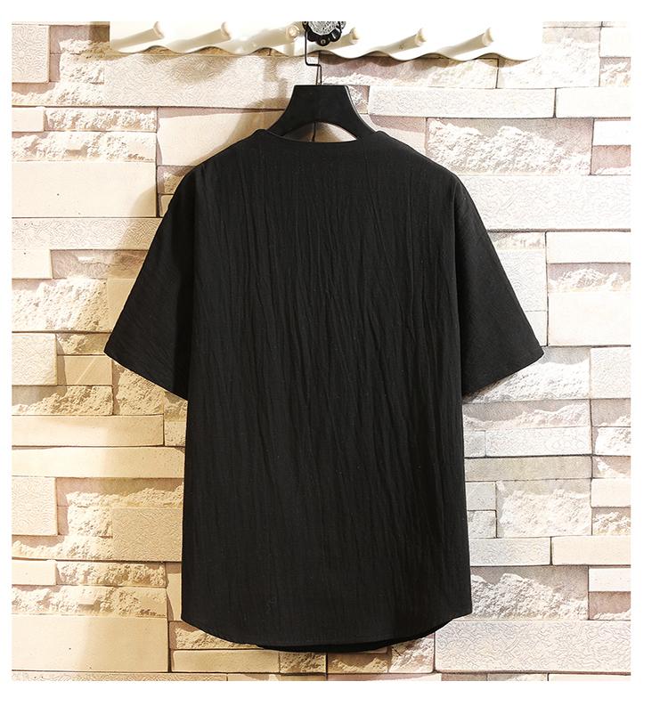 棉麻短袖男士复古中国风印花T恤亚麻蝙蝠袖t恤C203A-8001-P45控69