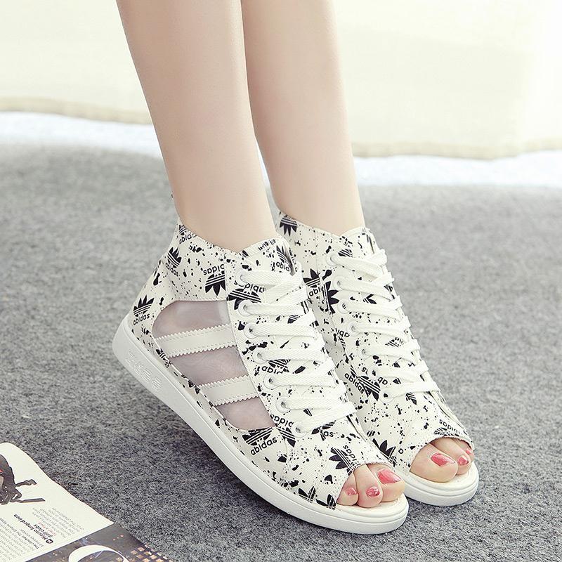 新款上新高帮夏秋季上新中学生平底凉鞋韩版平跟夏天女鞋子潮鱼嘴