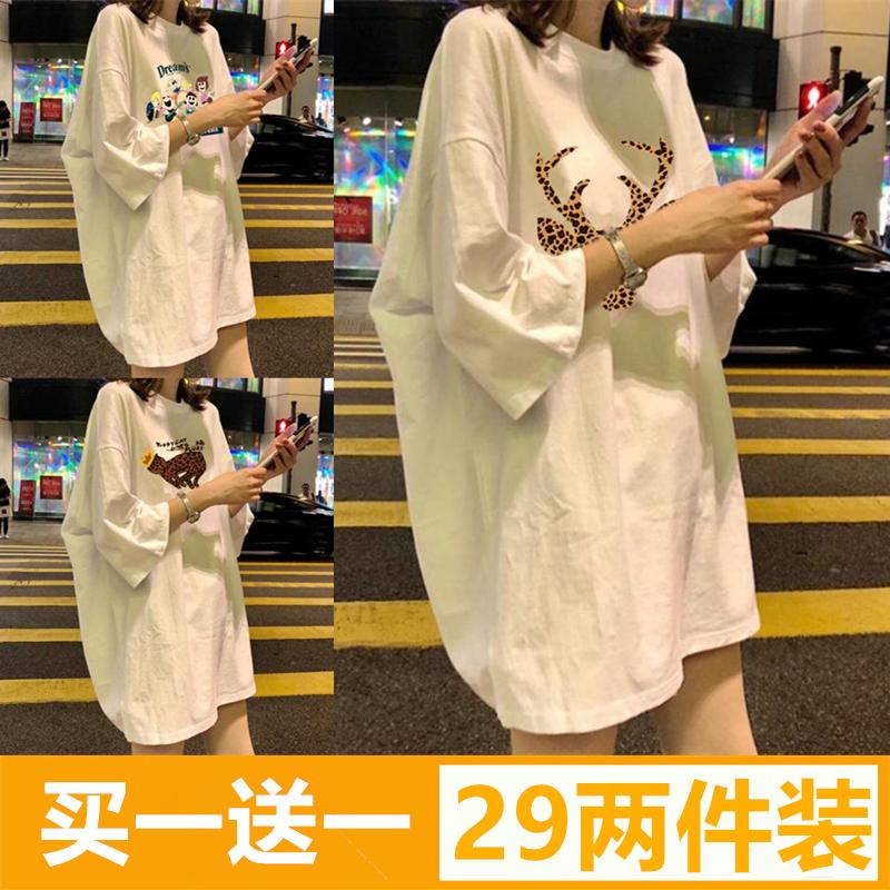 网红港风夏装韩版ins潮白色短袖t恤女宽松中长款原宿bf半袖上衣服