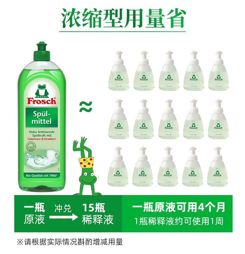 德国进口  Frosch 柠檬浓缩洗洁精 750ml*3瓶 赠稀释瓶 图8