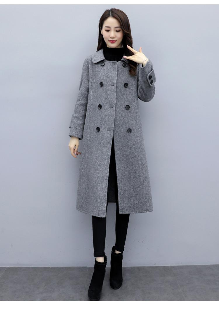 2019年秋季长袖中长款双排扣人字纹毛呢外套呢大衣女式