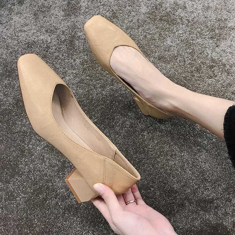 女鞋方头高跟鞋粗跟中跟百搭性感v女鞋2020新款时尚单鞋黑色18