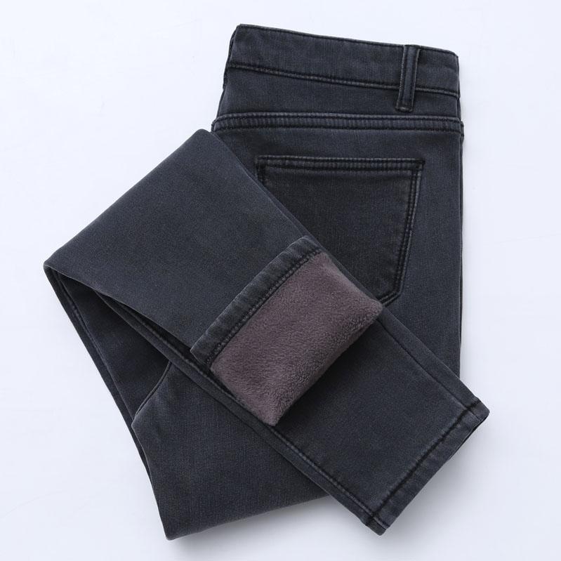 【高品质】冬季高腰牛仔裤女加绒加厚弹力紧身显瘦外穿保暖棉裤女