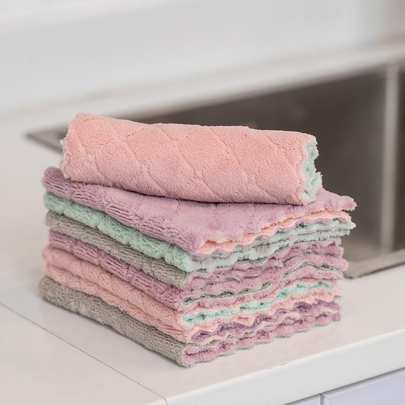 洗碗布抹布家务清洁厨房用品家用不掉毛不沾油吸水去油擦桌子毛巾
