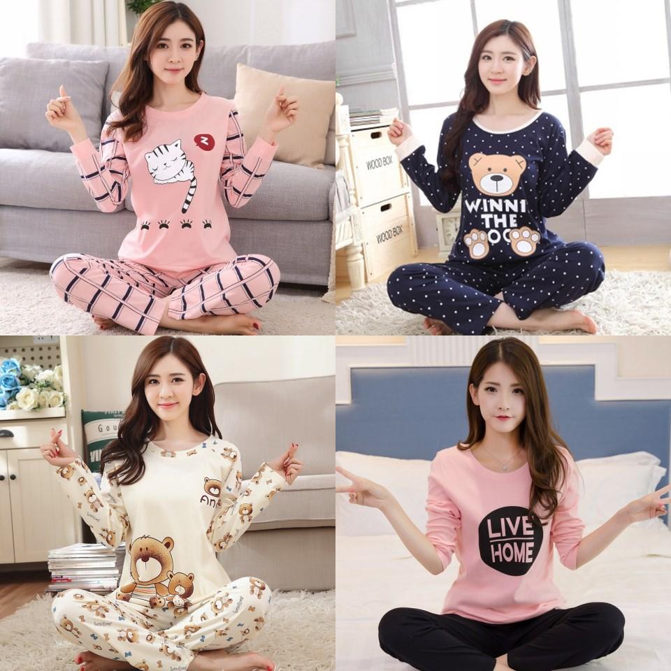 学生女春秋韩版v学生可居服秋季少女件套睡衣长袖卡通两睡衣装