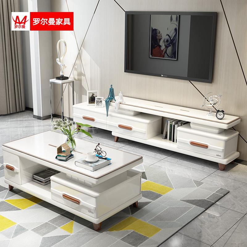 简约现代北欧沙发小户型钢化玻璃套装客厅电视柜v沙发伸缩茶几