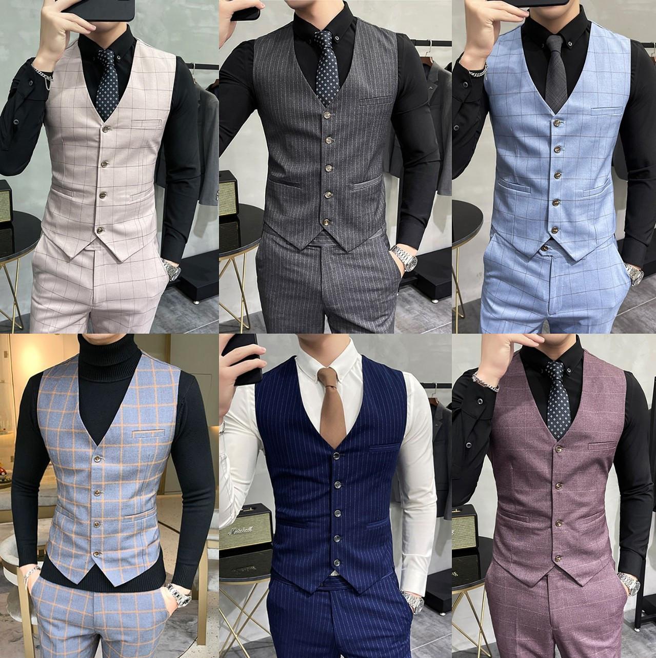 西装潮流男修身婚礼伴郎背心马甲套装两时尚英伦风格子团件套马夹