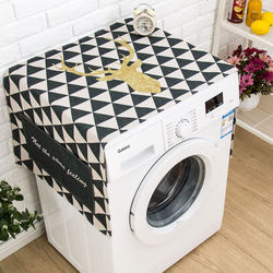 Nordic drum washing machine cover waterproof cover cloth cotton linen bedside table cover towel refrigerator dustproof sunscreen cloth customization