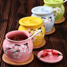 送小勺!日系小清新陶瓷带盖调味罐