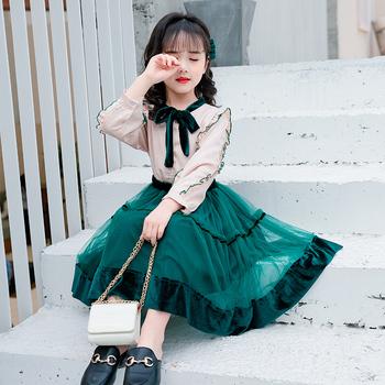Западный стиль девочки платье установите восемь 10 десять 11 в больших детей осень 12 ученик девушка ребенок одежда 13 лет, цена 1101 руб