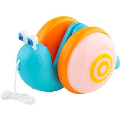 网红爆款儿童拉绳牵绳蜗牛电动灯光音乐声光拉线玩具男女宝宝学步