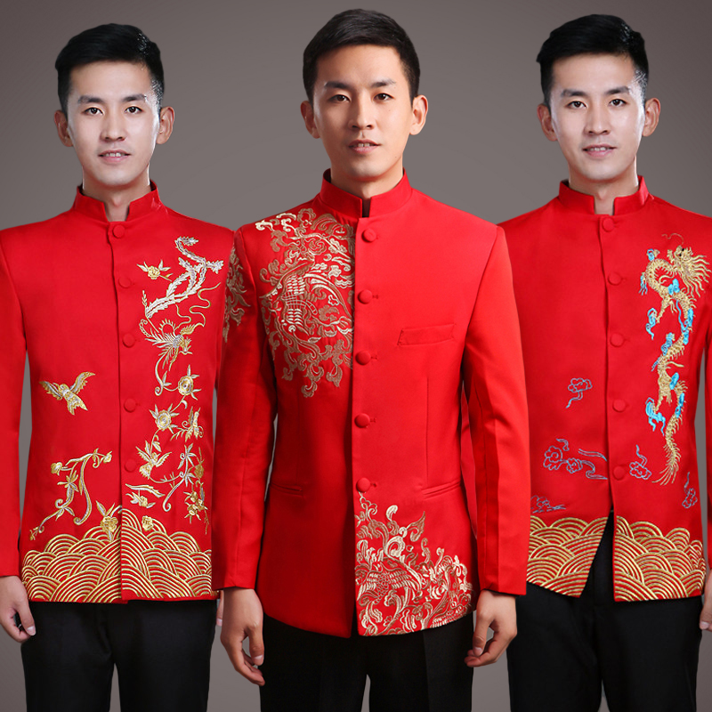 Chinese wedding dress costume show wo men s wedding dress Tang suit groom  toast clothing mountain suit costume b85d9530d