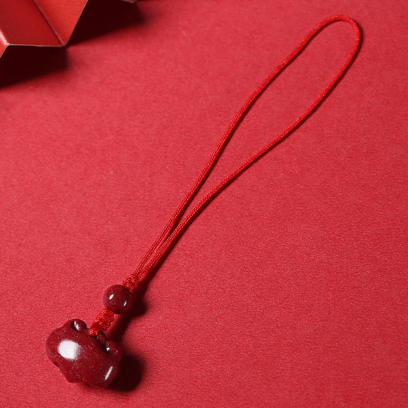 朱砂福锁如意女士个性锁骨项链手工编织简约手机链钥匙扣挂件吊坠