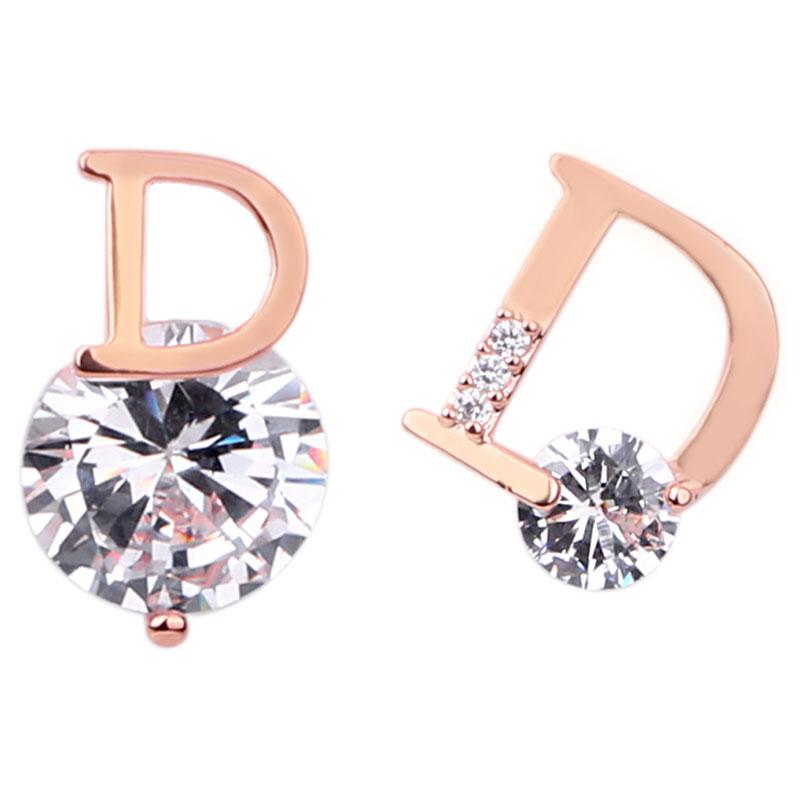 925银针D不对称耳钉女高级感耳环