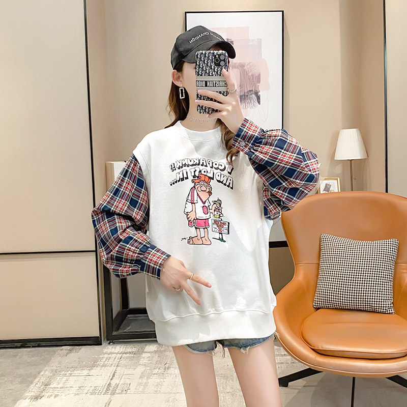 Fake two pieces of women's clothing 2020 new spring and autumn Korean version of loose salt thin coat ins tide clothes 46 Online shopping Bangladesh