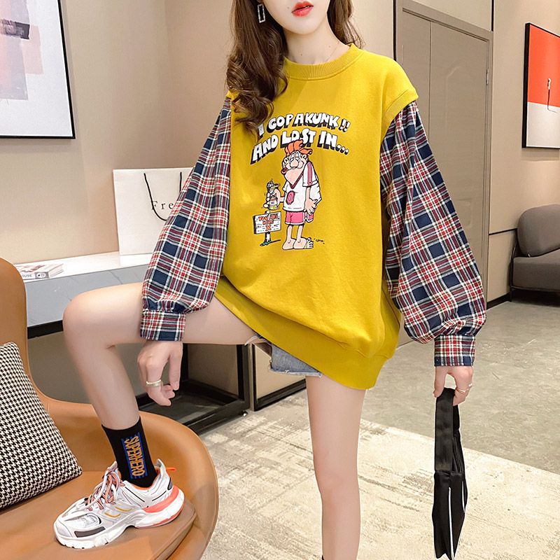 Fake two pieces of women's clothing 2020 new spring and autumn Korean version of loose salt thin coat ins tide clothes 43 Online shopping Bangladesh