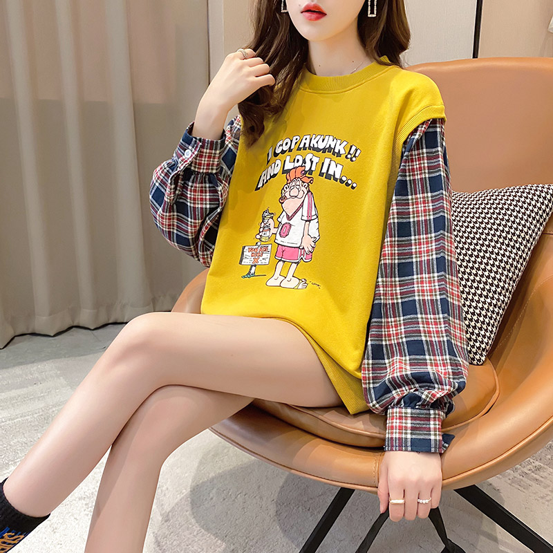 Fake two pieces of women's clothing 2020 new spring and autumn Korean version of loose salt thin coat ins tide clothes 45 Online shopping Bangladesh