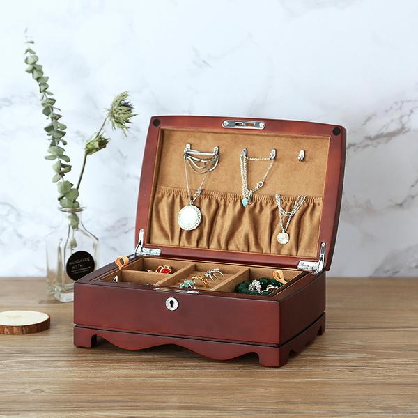 实木复古风珠宝首饰盒木质结婚项链手镯戒指首饰收纳盒子双层带锁