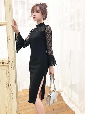 性感蕾丝拼接小黑裙改良旗袍少女年轻款中国风中长款优雅连衣裙