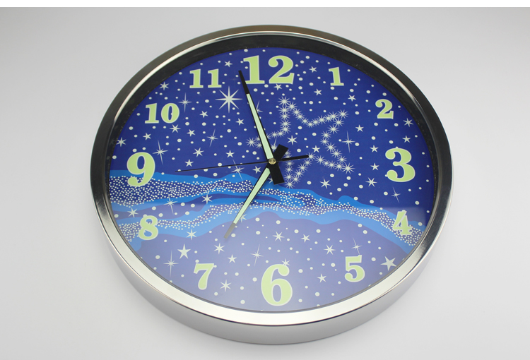 14 inch fasion luminous mute wall clock modern design star living room bedroo - Horloge murale decorative ...