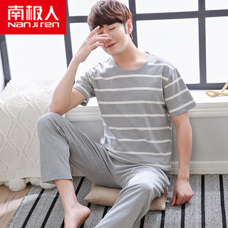 Antarctic pajamas men's summer cotton thin short-sleeved trousers men's pajamas summer youth cotton home service suit