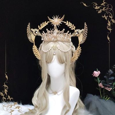 taobao agent Light Hejia Lolita lolit Stunning Great Madonna Crown Headdress Halo Hair Crown Original Handmade Color
