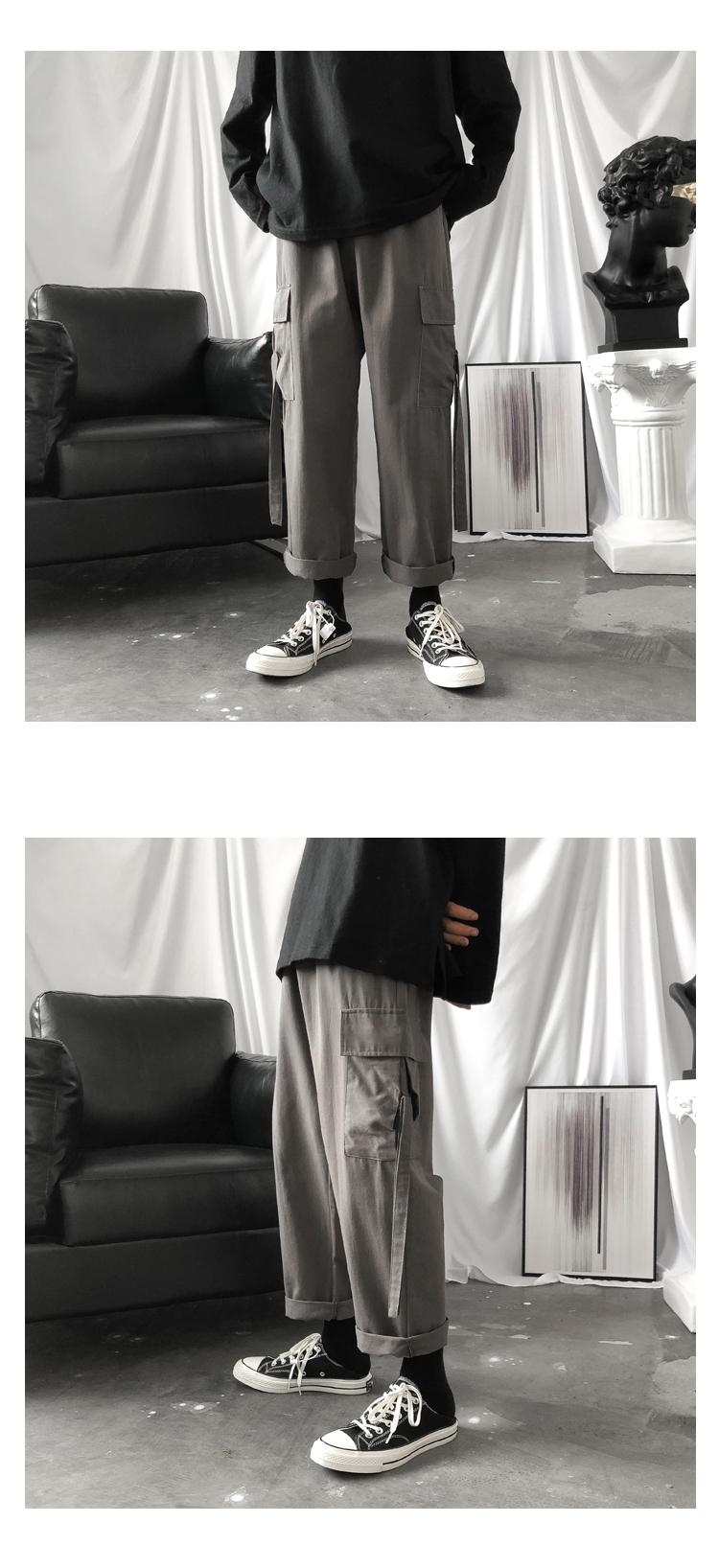 秋冬~爆款推荐暗黑织带工装裤男休闲裤903-BK43-P65加绒P70(控88
