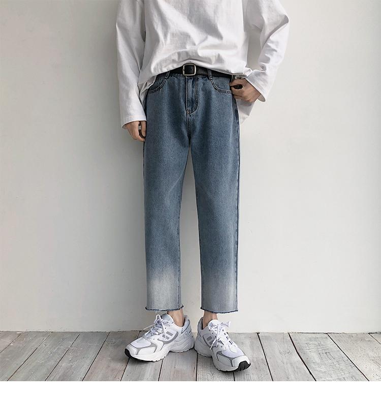2020春款毛边时尚港风中性宽松牛仔裤 B430-1-K65-P50
