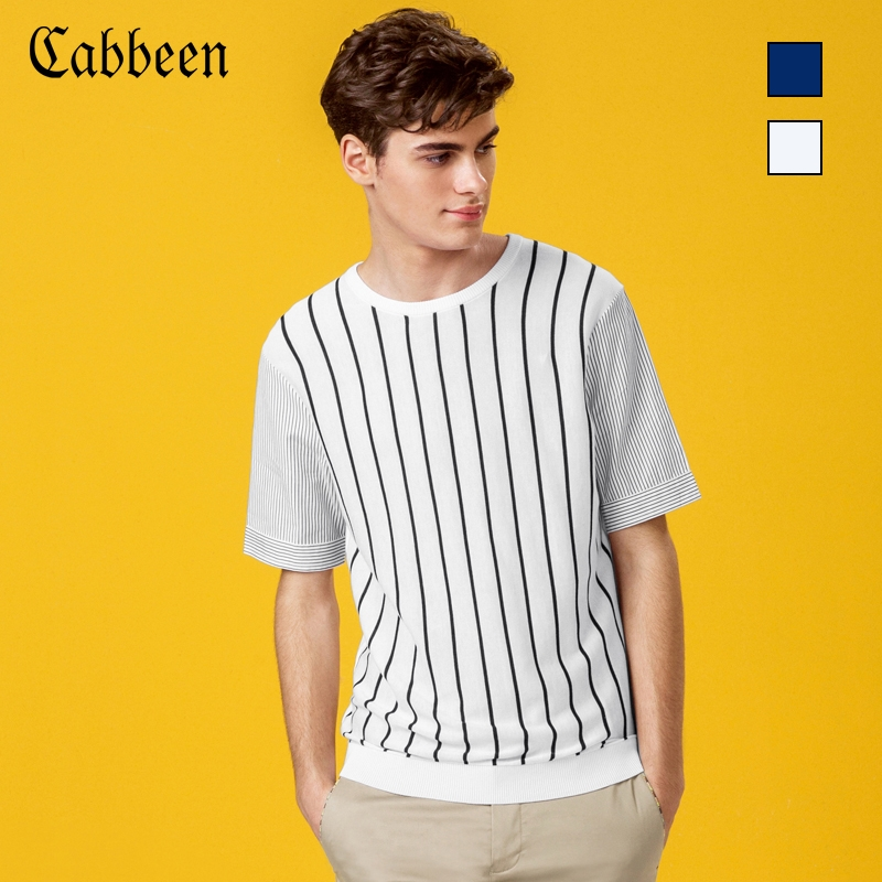 Usd 5028 Clearance Salekabin Mens Striped Short Sleeved Sweater