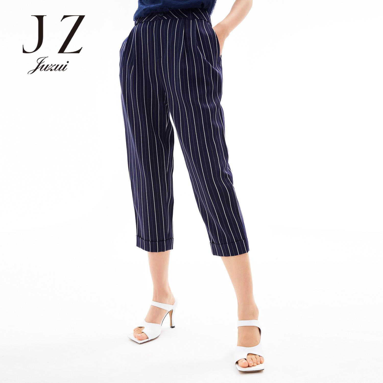 【玖姿官方奥莱店】时尚条纹通勤直筒休闲裤