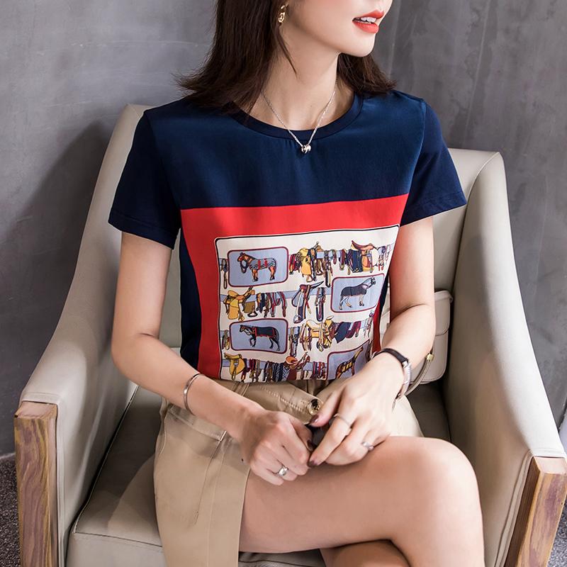 印花仿长袖上衣缎面t恤女短袖2020春夏新款大码宽松棉拼接真丝潮