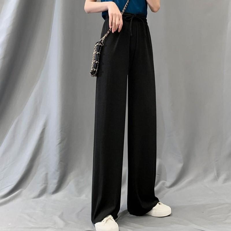 每人限购2件冰丝阔腿裤女裤夏薄款高腰宽松垂感显瘦直筒休闲裤子a