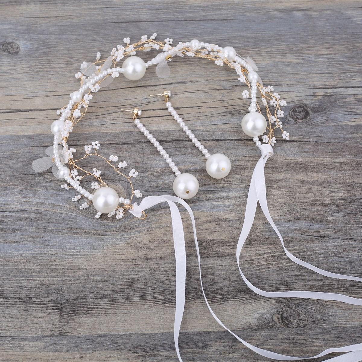 新娘头饰发带套装大气珍珠流苏耳环超仙韩式结婚发饰白色发箍配饰