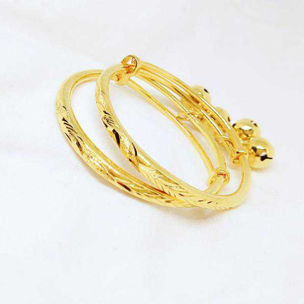 Baby baby baby child gold plated Euro gold imitation real Bracelet Vietnam sand gold bell Bracelet