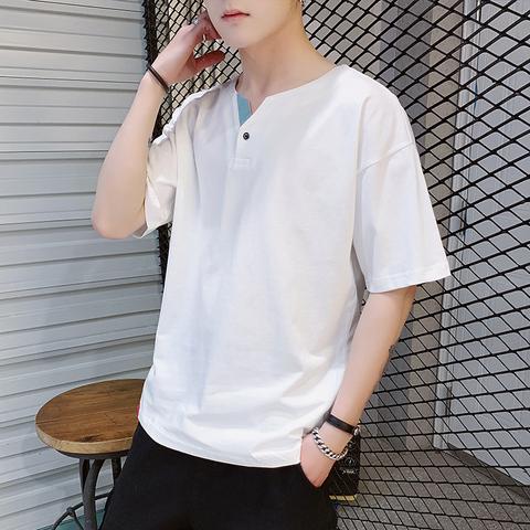 夏季短袖t恤男潮流潮牌ins青少年半袖体恤百搭上衣服纯棉宽松休闲