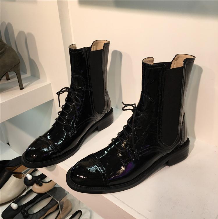 韩国女鞋单靴19秋冬新款英伦复古系带漆皮圆头机车马丁靴短靴子