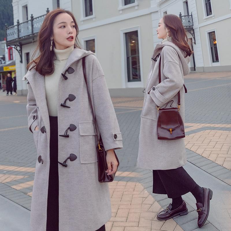 复古牛角扣连带帽子呢子大衣女中长款春款戴帽款式休闲毛呢外套