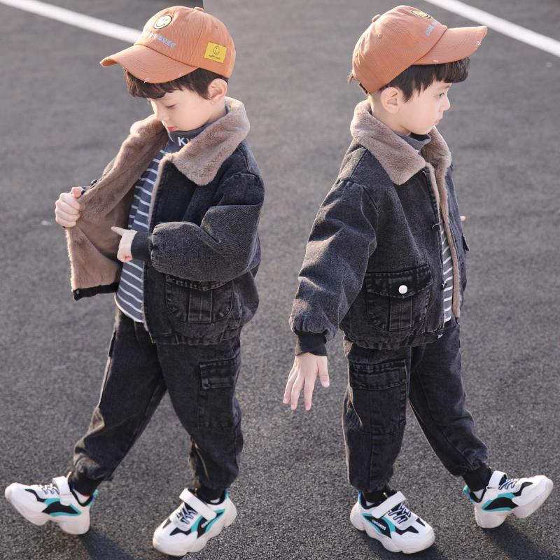童装男童秋冬装牛仔套装2019年新款儿童冬季洋气加绒加厚二件套潮
