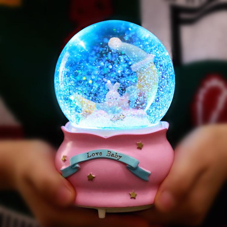 发光雪花水晶球音乐盒八音盒创意情人节生日礼物男女生送闺蜜儿童