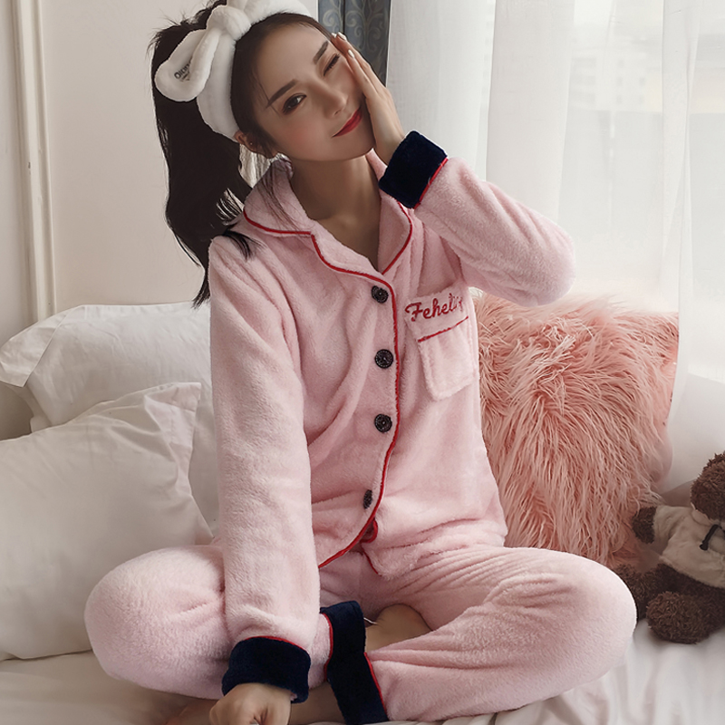 包邮日韩版秋冬款加厚珊瑚绒家居服套装