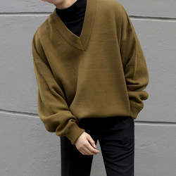 MRCYC autumn V-neck sweater male Korean lazy wind loose sweater outer wear long-sleeved jacket tide of Japanese students