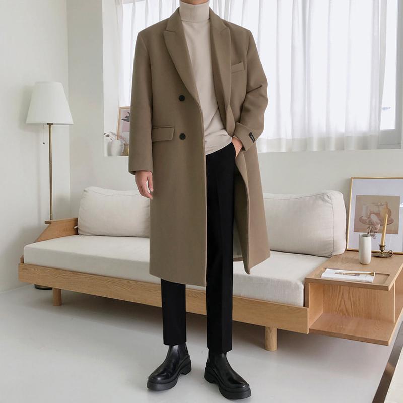 MRCYC风衣潮流呢子英伦风韩版大衣冬季毛呢外套中长款加厚尼男士