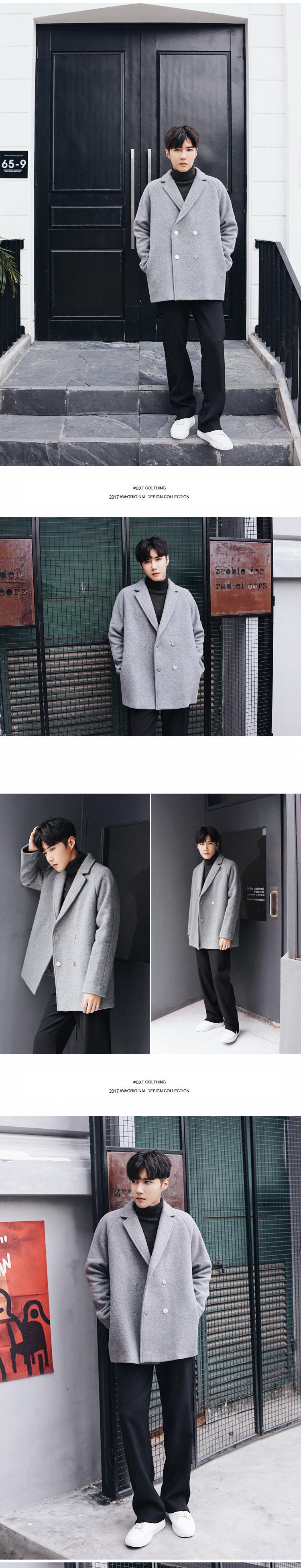 MRCYC Hàn Quốc phiên bản của raglan tay áo len áo khoác nam xu hướng rắn màu lỏng đôi ngực áo len áo khoác áo khoác thủy triều