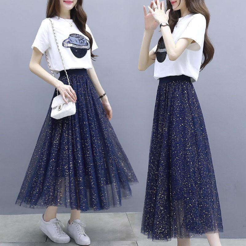 11短袖T恤+网纱裙长裙套装2019新款韩版连衣裙两件套女夏半身裙