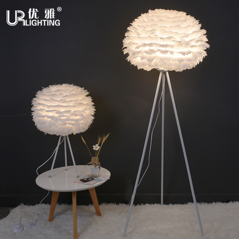Nordic Style Creative Feather Floor Lamp Warm Bedroom Bed Goose Feather Table  Lamp Romantic Living Room · Zoom · Lightbox ...