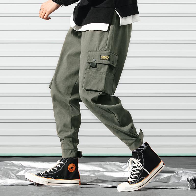 弗朗约翰爆款4色男式棉质休闲裤多口袋工装裤男魔术贴束脚裤加绒