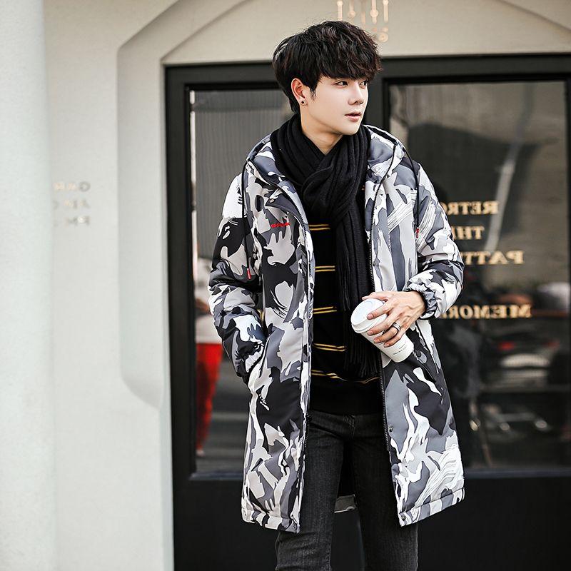 GXG Jmoon羽绒服男中长款青年修身冬季羽绒衣潮韩版迷彩男装外套
