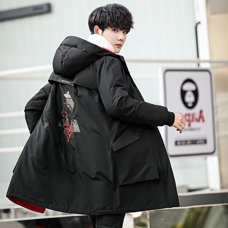 GXG Jmoon男装冬季新款中长款刺绣羽绒服时尚韩版青年连帽外套潮